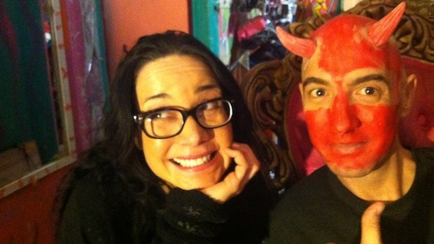 "Janeane Garofalo and Faceboy in ""Satan, Hold My Hand."""