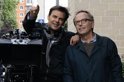 François Ozon with Fabrice Luchini on the set of in the House