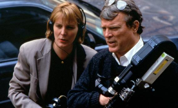 Chris Hegedus and D.A. Pennebaker during the making of The War Room