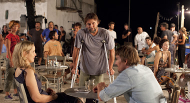 Director Richard Linklater with Julie Delpy and Ethan Hawke on the set of Before Midnight. (Photo courtesy of Sony Pictures Classics)