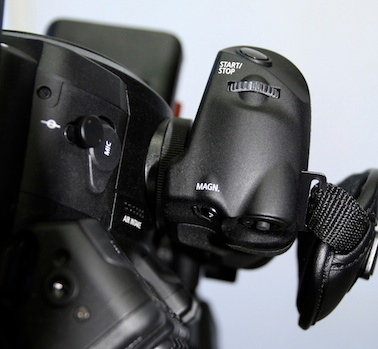 Intelligent handgrip on Canon C100 and C300.