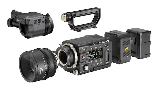 Sony PMW-F55 with OLED viewfinder and AXS-R5 RAW recorder.