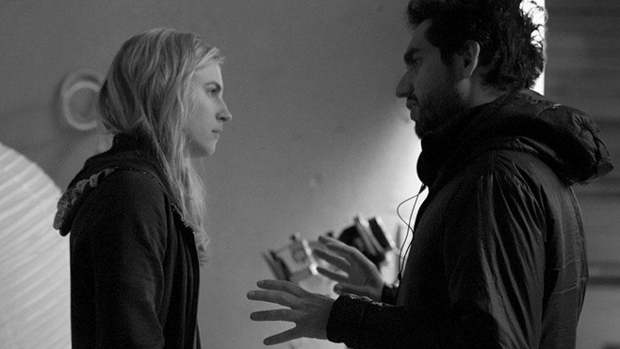 Brit Marling and Zal Batmanglij on the set of The East