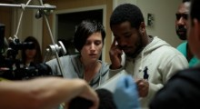 Rachel Morrison on the set of Fruitvale Station.