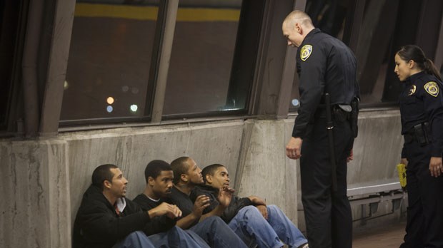 Michael James, Michael B. Jordan, Trestin George, Thomas Wright, Kevin Durand and Alejandra Nolasco in Fruitvale Station