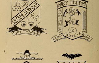 "From Motion Picture Magazine, 1916. ""Coats of Arms for Popular Players."" Character archetypes deconstructed."