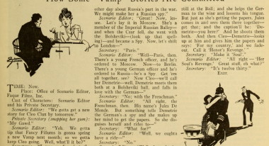 Revealing the process, from Photoplay, 1918. Vamp plot line generated in context of industry economics and competition.