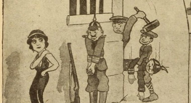 "During WWI, many cartoons addressed the relationship between film and the war effort. From one entitled ""Our Players at the Front"" comes this."