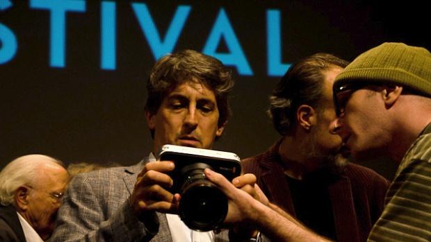 Alexander Payne, Jamie Stuart and the Blackmagic Cinema Camera. (Photo: Matthew Schuchman.)