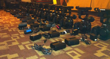 The cameras being prepped for shooting