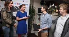 Sunbelt Express's Evan Buxbaum and Noah Lang with organizers Adeline Monzier and Ula Sniegowska