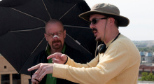 Vince Gilligan and Bryan Cranston on the set of Breaking Bad