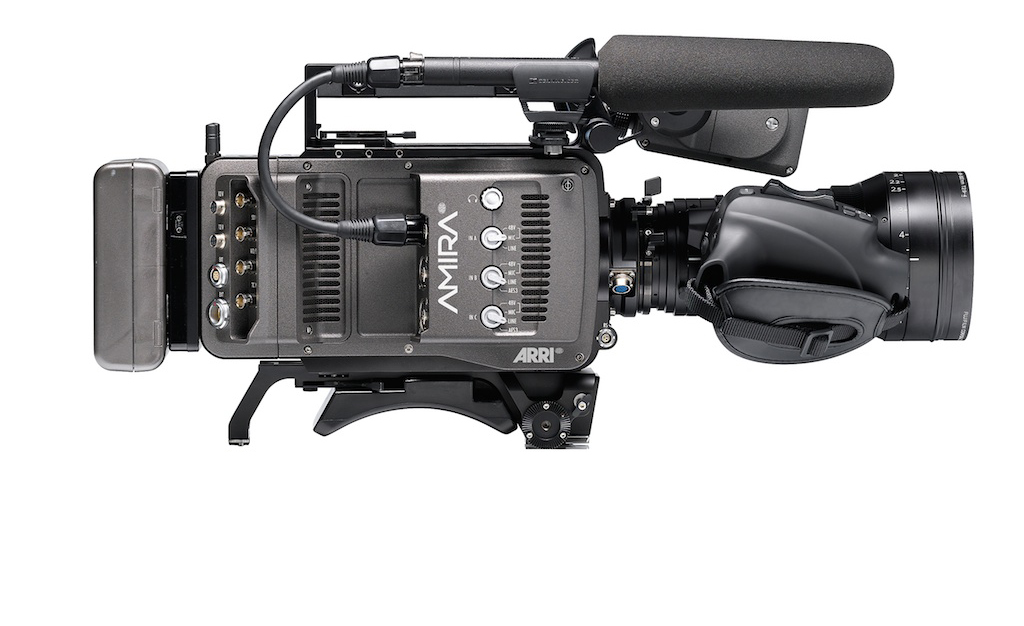 Connections side of ARRI Alexa. Zoom in both product shots is Fujinon Cabrio 85-300mm T2.9, digitally shorted an inch or so to make it look shorter and lighter. Lens weight remains a problem for hand-held S35 cameras.