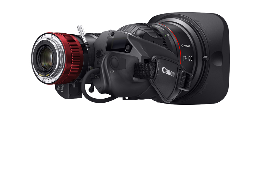 EF version (note the contacts) of Canon's new 17-120mm zoom, T2.95, designed for 4K. Digital Drive in handgrip, removable for manual control, enables auto-iris, servo zoom, and when used with EF mount, lens data in viewfinder plus metadata. Microprocessor in Digital Drive enables easy pre-programming of focus, zoom position/speed, and iris for automated, repeatable moves. Weight of 6.4 pounds demonstrates strength of EF mount. PL version available too.