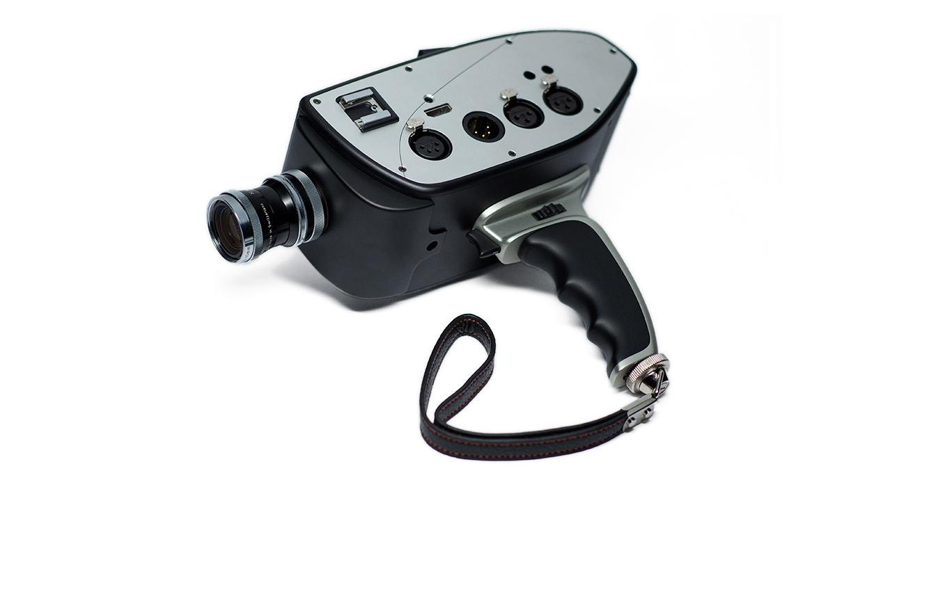 Digital Bolex D16 with pistol grip and hand strap.