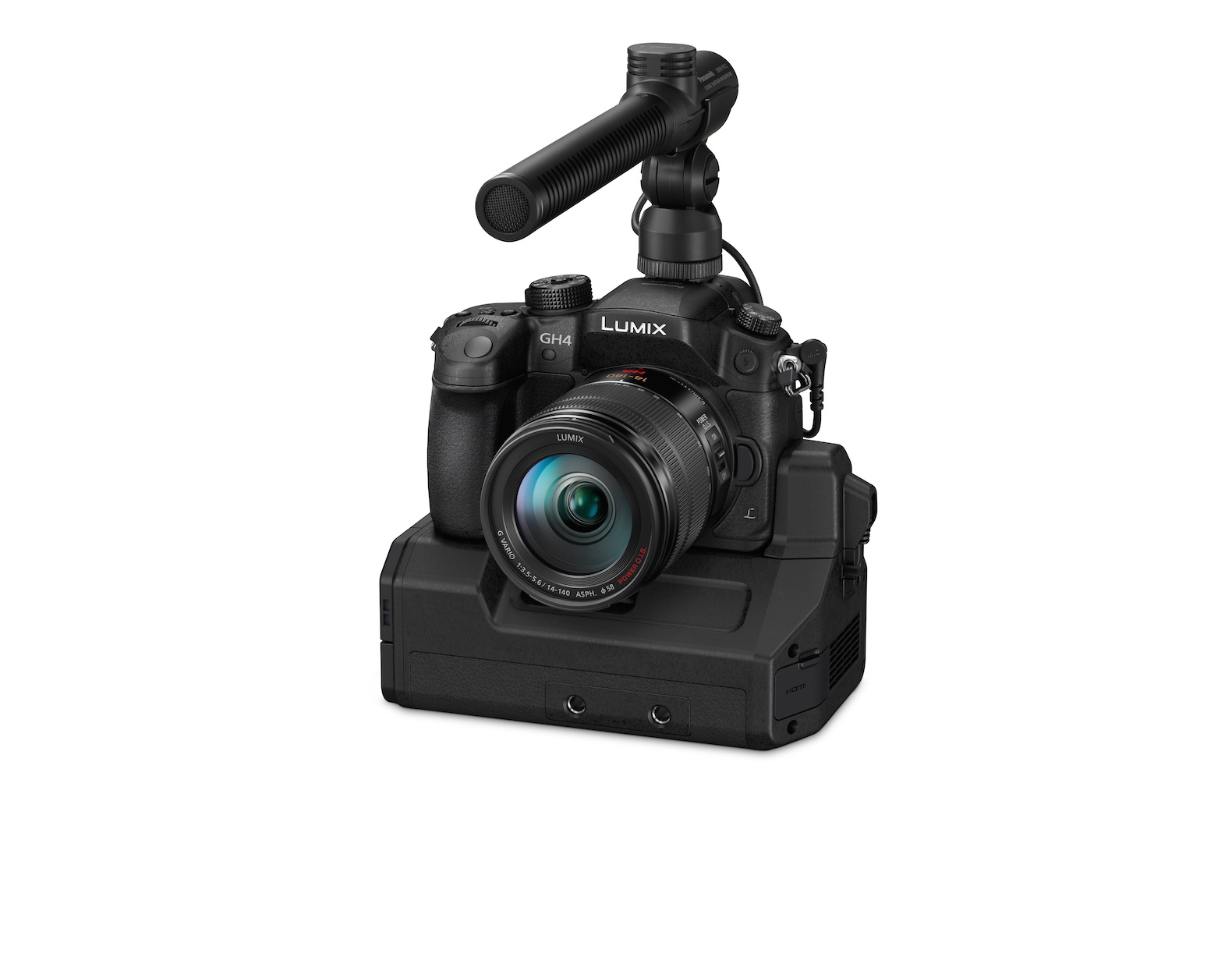 Panasonic DMC-GH4 beefs up for production with optional DMW-YAGH Interface Unit with 4 x HDSDI out, 2 x XLR in, TC in, 12V DC in, and audio controls including volume knobs.