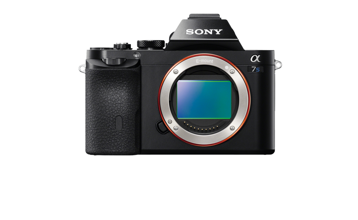 """Blue """"S"""" distinguishes 4K Sony a7S from identical a7R."""