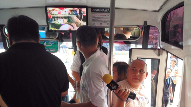A bus inspection being conducted Monday (from the MTRCB's Twitter feed)