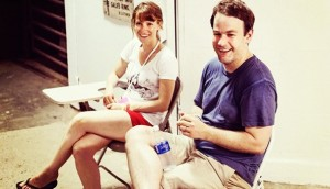 Liliana Greenfield-Sanders and Mike Birbiglia at last year's Wassaic Project Film Festival.