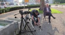 Fabrice Aragno (l) and Jean-Luc Godard (r) on set (Photo courtesy of Kino Lorber)