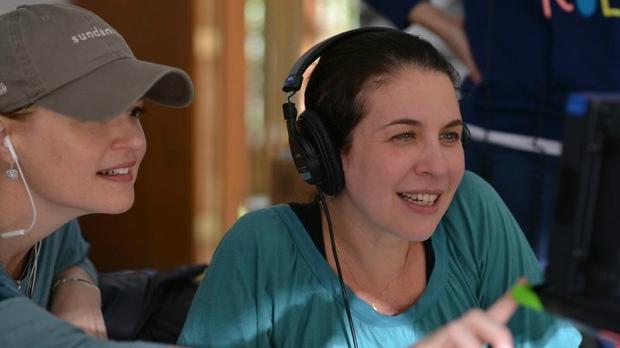 Livi Newman watches the monitor with script supervisor Allison Hughes Stroud (PHoto by Brandon Cruz)