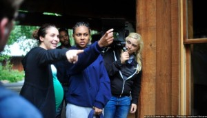 Livi Newman directs actress Tashiana Washington as director of photography Dagmar Weaver-Madsen looks on.