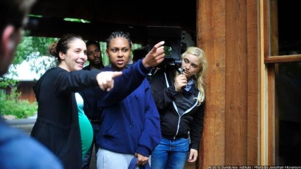 Livi Newman directs actress Tashiana Washington as director of photography Dagmar Weaver-Madsen looks on.
