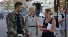 Dima Yaroshenko, Polina Snisarenko, and Roxy Toporowych on the set of Julia Blue