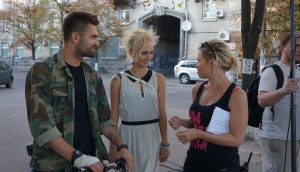 Dima Yaroshenko, Polina Snisarenko, and Roxy Toporowych on the set of Julia Blue