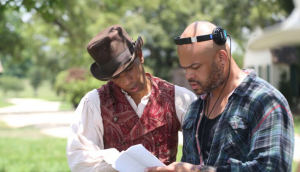 Alano Miller and Anthony Hemingway on the set of Underground