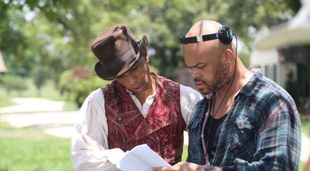 Alano Miller and Anthony Hemingway on the set of Underground