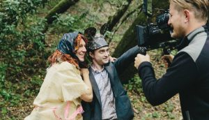 Paul Dano, Daniel Radcliffe and Larkin Seiple on the set of Swiss Army Man